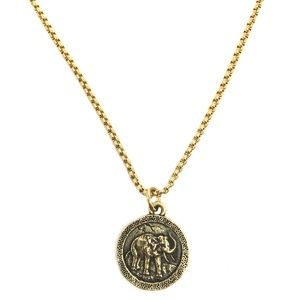Jewelry - Wise Elephant Coin Necklace - Old World Gold